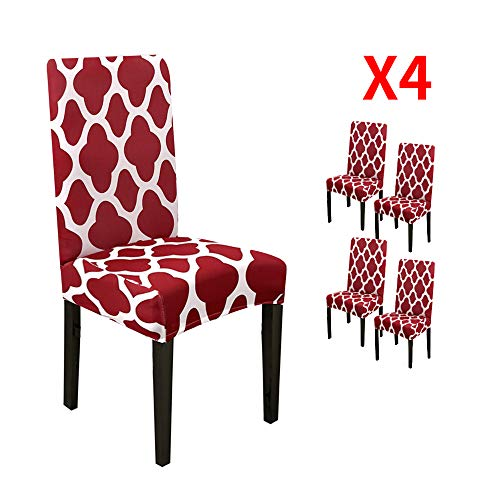 YIMEIS Comfort Stretch Dining Chair Slipcovers, Geometric Printed Dining Chair Protector, Removable Washable Short Dining Chair Seat Covers for Dining Room, Kitchen, Office (Pack of 4, Wine red)