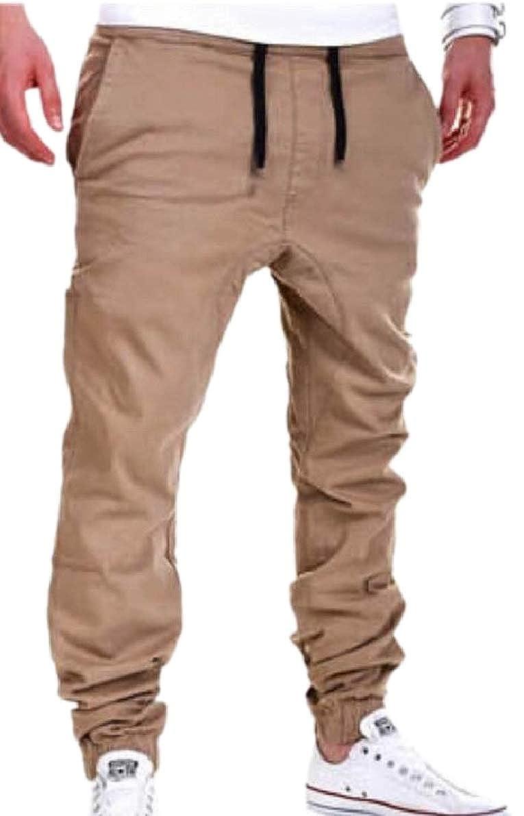 ONTBYB Mens Jogger Hipster Hip Hop Solid Color Sweatpants Drawstring Casual Pant