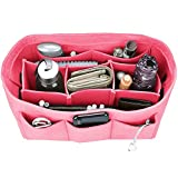 Felt Purse Insert Organizer, Handbag organizer, Bag in Bag for Handbag Purse Tote, Diaper Bag Organizer, Stand on Its Own, 12 Compartments, 3 Sizes (Medium, Pink)