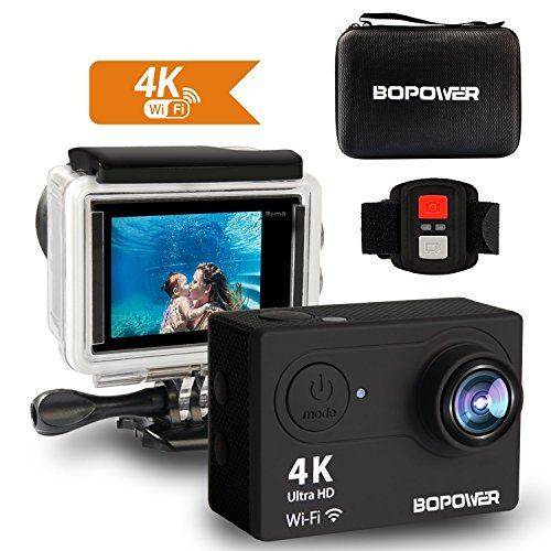 Action Camera, ABOX Bopower 4K Action Camera 12MP HD Wi-Fi Waterproof Sports Camera with 170 Degree Angle 2 Rechargeable Batteries 30 Meters(100 Feet) Waterproof Housing 2.4G Wireless Remote Control