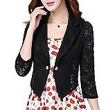 YUNY Women Bolero One Button 3/4 Sleeve Lace Crochet Blazer Tops Black L