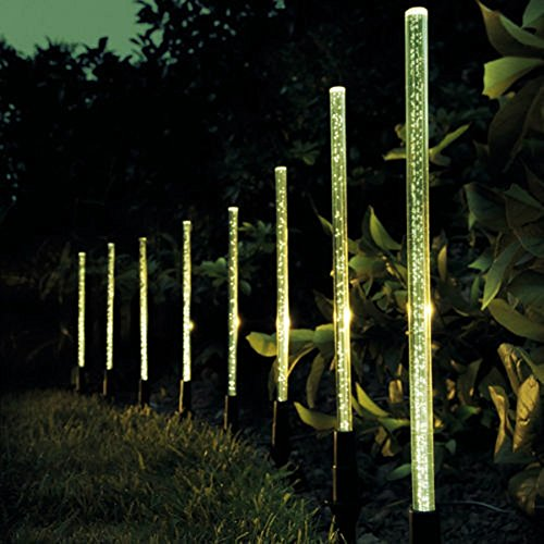 8 Pack Whites Solar Tube Lights Solar Acrylic Bubble Pathway Decoration Garden Stick Stake Light Set (warm light) (Garden Light Sets)