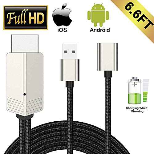 Compatible with iPhone iPad Android Phones MHL to HDMI Cable, WEILIANTE 6.6ft 1080P HD USB Type C/Micro USB to HDMI Cable for iPhone XS/X/XR/8/7/6 Plus iPad Samsung Pixel LG Sony Moto to TV/Monitor