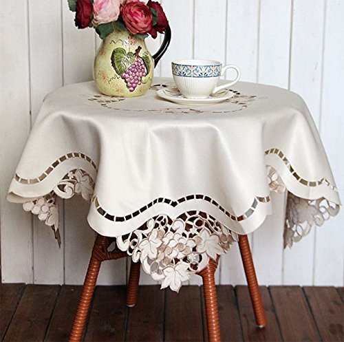 Embroidery Hollow Square Tablecloths Cover Towel Refrigerator Dust Cover Tv  33.4x33.4In