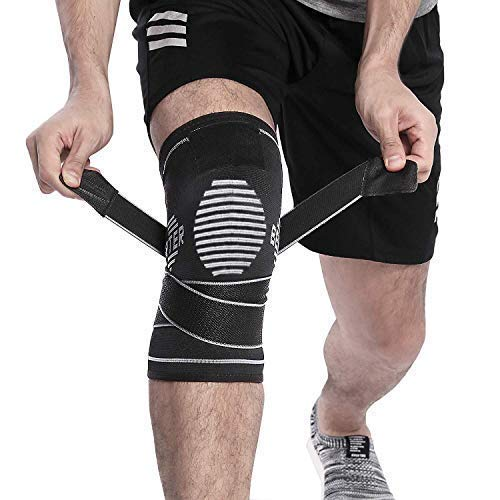 BERTER Knee Brace for Men Women - Compression Sleeve Non-Slip for Running, Hiking, Soccer, Basketball for Meniscus Tear Arthritis ACL Single Wrap (Update Compression Straps Version, Large) (Water Knee Brace)