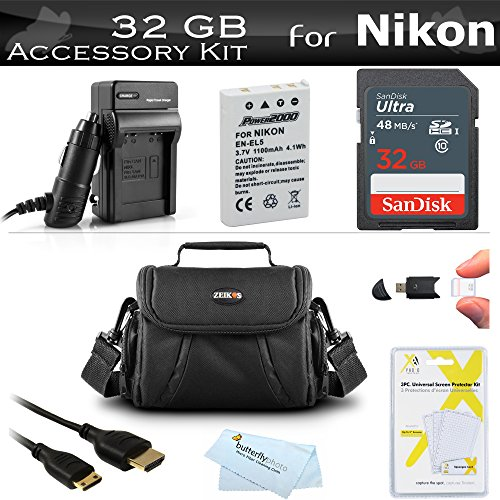 32GB Accessory Kit For Nikon COOLPIX P100 P500 P510 P520 P530 Digital Camera Includes 32GB High Speed SD Memory Card + Extended (1100 Mah) Replacement Nikon EN-EL5 Battery + AC/DC Charger + USB Card R