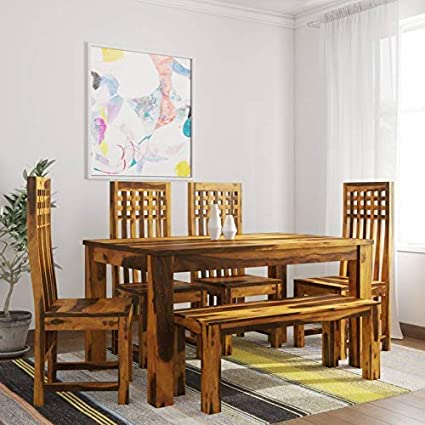 Custom Decor Sheesham Wooden Dining Table Six Seater Dining Table Set With 4 Chairs Bench Home Dining Room Furniture Teak Finish Amazon In Home Kitchen