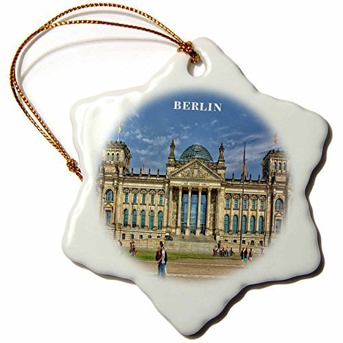 Berlin Government Buildings - Enidgunter Lovely Architecture Berlin Government Building Germany Porcelain Snowflake Decorative Hanging Christmas Ornament 3 inch