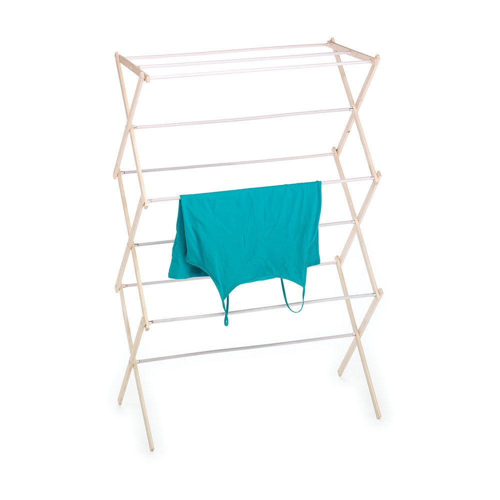 HOMZ Drying Rack, Ready to Assemble, 42'' x 29'' x 14'', Natural Wood (4230031)