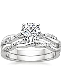 Pretty Jewellery Twist Engagement Wedding Bridal Ring Set in White Gold Fn 925 Silver Simulated Diamond
