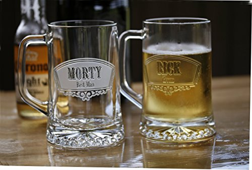 Groomsmen Gift Ideas, Best Man Beer Mugs Set of 8 by Crystal Imagery Engraved Glass Gifts