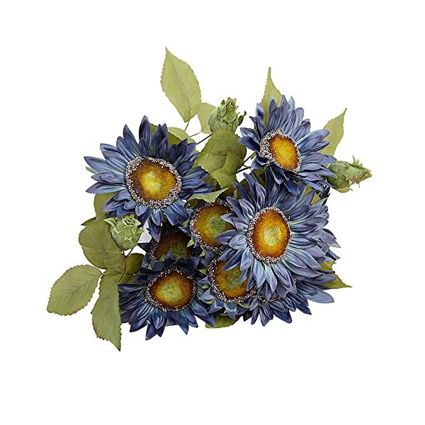 Kaimao 1 Bundle Artifical Sunflowers Bouquet, Artificial Flower with Green Leaves for Home Decor and Wedding Decorations – Blue