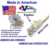 SuperEcable - USA-0678 - 110 Ft UTP Cat5e - Made in USA - WHITE – UL 24Awg Pure Copper – Ethernet Network Patch Cable