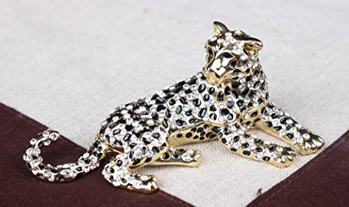 znewlook Jaguar Leopard Jewelled Trinket Box Jewelry Box Wildlife Pill Box Figurine Leopard Jeweled Jewelry Box