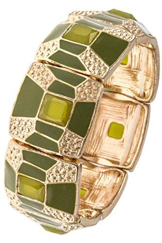 Karmas Canvas Geometric Square Link Accent Trendy Stretch Bracelet (Olive)