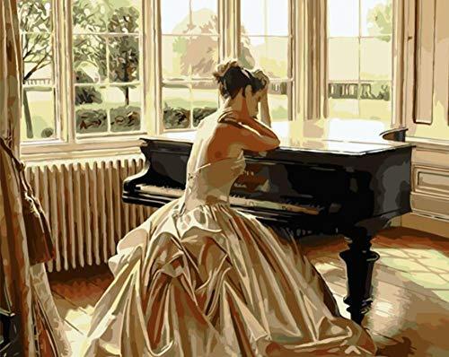 DOORWD DIY Pintar por numeros para Adultos ninos Pintura al oleo Piano Beauty Woman 40 x 50 cm Lino Lona Sin Marco
