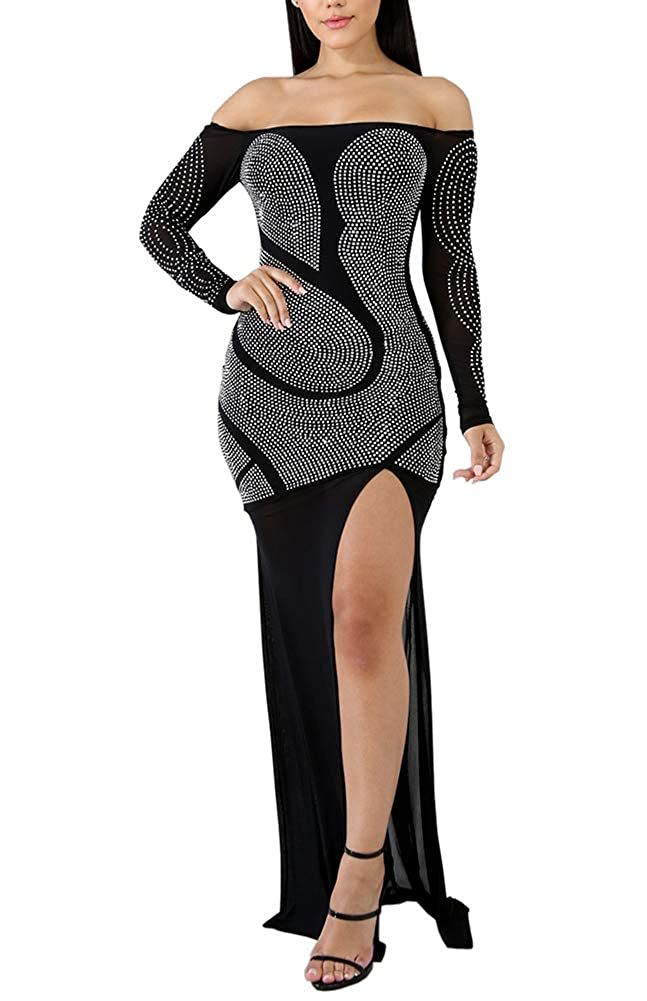 0a733a75deb7b Salimdy Women Sexy Sparkly Rhinestone Off Shoulder See Through Long Sleeve  Side Split Mesh Bodycon Maxi Pencil Dress