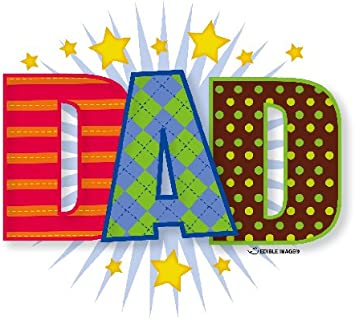 cake toppers Fathers day Birthday 30x I Love Dad PRE CUT Wafer cupcake
