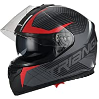 Triangle Full Face Dual Visor Matte Black Street Bike Motorcycle Helmet (Small, Matte Red) from Jinhua Bokai Motorcycle Fitting Co.,LTD