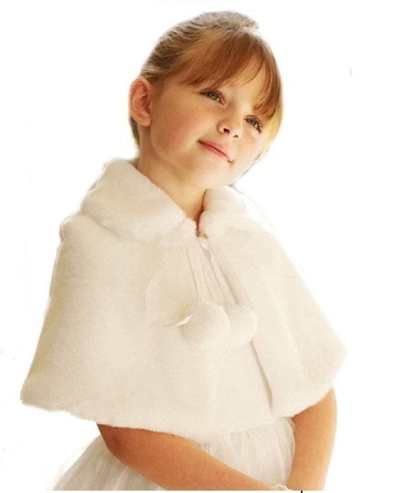 Shop Ginger Wedding Flower Girl Faux Fur Shawl Wraps Cape Kids Communion C3 (XS, Ivory)
