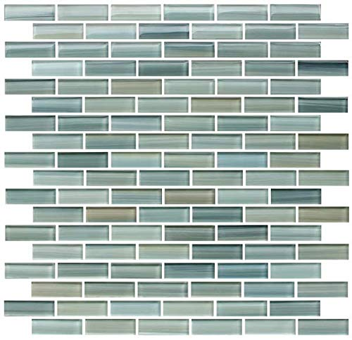 10 Sq Ft - Reflections Hand Painted Glass Mosaic Subway Tiles for Bathroom Walls or Kitchen Backsplash ()