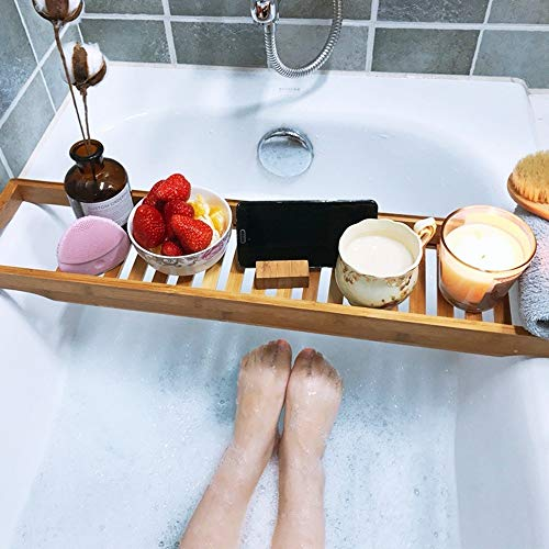 Bathtub Trays HAIZHEN, Bath Tray Simple Bamboo Bathtub Caddy Bathroom Shower Organizer for Shampoo, Soap, Razors by Bathtub Trays (Image #1)