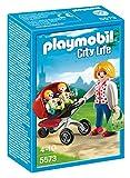 Playmobil - 5573 - Jeu De Construction - Maman Avec Jumeaux Avec Landau