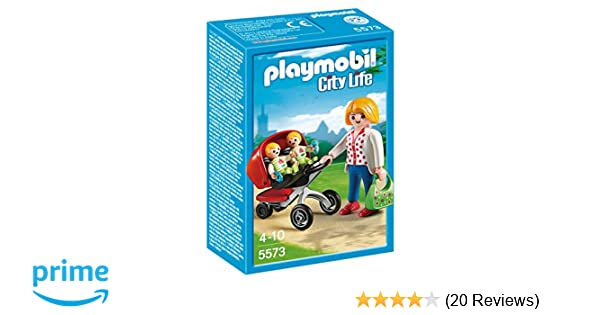 PLAYMOBIL® Mother with Twin Stroller Set