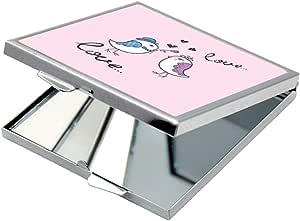 مرآة جيب، بتصميم رومانسي - طيور الحب، شكل مربع