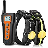 AKKEE Dog Training Collar for 2 Dogs - Rechargeable Dog Shock Collar,3 Training Modes Beep, Vibration and Shock, Waterproof Training Collar, Up to 1000Ft Remote Range, Pet Trainer Electric E-Collar