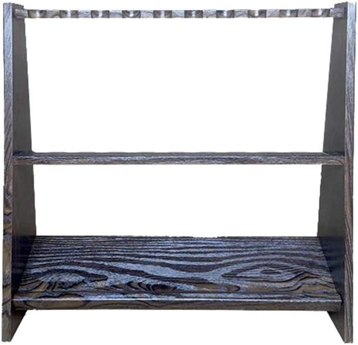 LCRACK プールキューラック、純木サポートビリヤードスティックスタンドラック、最大10スヌーカーキューを保持 (Color : Wood grain) Wood grain