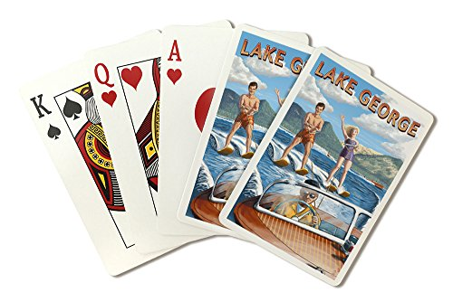 Lake George, New York - Water Skiing Scene (Playing Card Deck - 52 Card Poker Size with Jokers)
