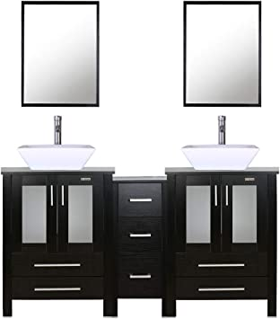 Amazon Com 60 Double Vanity 2 24 Vanity 2 Porcelain Vessel Sink Combo Square 1 12 Side Cabinets Double Bathroom Vanity Top With Porcelain White Sink 1 5 Gpm Faucet Drain Parts Mirror Includes Furniture Decor