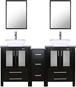 Amazon Com 60 Double Vanity 2 24 Vanity 2 Porcelain Vessel Sink Combo Square 1 12 Side Cabinets Double Bathroom Vanity Top With Porcelain White Sink 1 5 Gpm Faucet Drain Parts Mirror Includes Tools Home Improvement