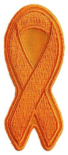 (Cause - Orange Leukemia Awareness Ribbon Embroidered Iron-On Patch - 3x1.25 inch)