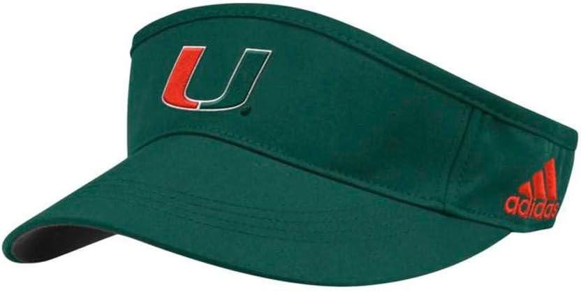 adidas Miami Hurricanes NCAA Men's Team Logo Green Sideline Game Adjustable Visor