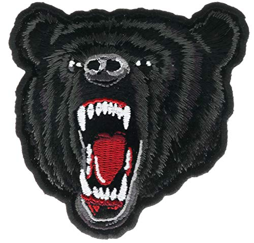 Black Bear Anger Growling Embroidered 4