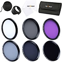 K&F Concept 58mm 6pcs FLD CPL UV ND2 ND4 ND8 Lens Accessory Filter Kit UV Protector Circular Polarizing Filter for Canon 600D EOS M M2 700D 100D 1100D 1200D 650D DSLR Cameras + Microfiber Lens Cleaning Cloth + Petal Lens Hood + Center Pinch Lens Cap + Filter Bag Pouch