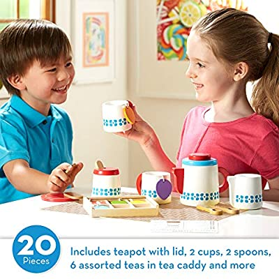 "Melissa & Doug Wooden Steep & Serve Tea Set (Pretend Play, All-Wood Tea Service, Brightly Colored Tags, 12"" H x 15"" W x 3.5"" L): Toy: Toys & Games"