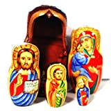 Authentic Russian Hand Painted Handmade Religious Nesting Doll of 5 Pc Artist Signed Matryoshkas 5'' Church Icons