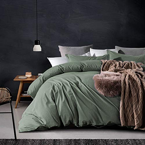 ECRISDOO Comforter Set, Washed Cotton Duvet Cover, Natural Solid Color Slight Wrinkle Design, Breathable Bedding Set, 3 Pieces Bed Cover & Pillow Shams (Green, Queen)