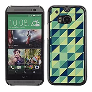 Graphic4You BLUEISH GREEN TRIANGLES PATTERN HARD CASE COVER FOR HTC One (M8)