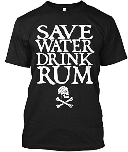 Save Water Drink Rum XL - Black Tshirt - Hanes Tagless Tee