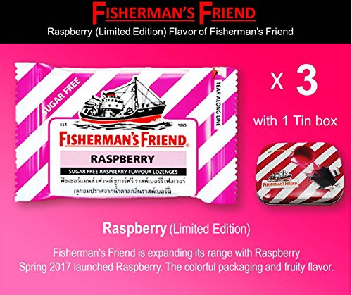 Fisherman's Friend Raspberry (Limited edition) Flavor (Pack 3 With 1 Collectibles Tin boxes) Fruity Taste with Fresh breath and Extra Strong Cough Suppressant (Bronchitis Cough Suppressant)