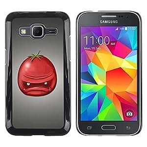 TopCaseStore / la caja del caucho duro de la cubierta de protección de la piel - Angry Tomato Red Fruit Art Face Portrait - Samsung Galaxy Core Prime SM-G360