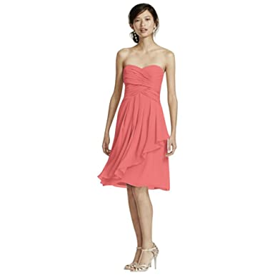 b9b87ddc44f6 Short Crinkle Chiffon Bridesmaid Dress with Front Cascade Style F14847,  Coral Reef, 0