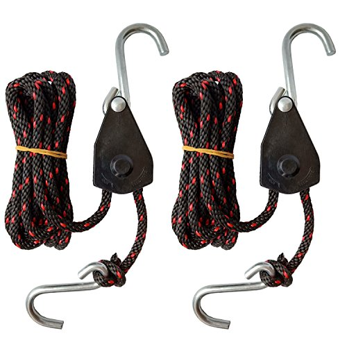 "FishYuan Sentry Ratchet Kayak and Canoe Bow and Stern Tie Downs 1/4"" Grow Light Heavy Duty Adjustable Rope Hanger (2-Pack)"