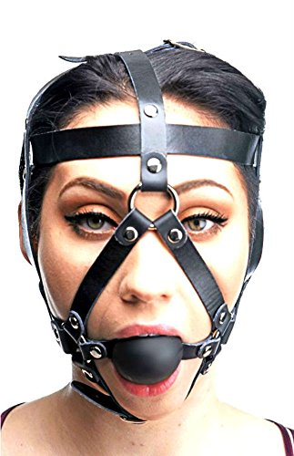 Price comparison product image Big XL Ball Gag 2 Inch Head Harness Leather Mask Black Large Massive Giant Gags