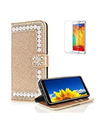 Funyye 3D Pearl Rhinestone Glitter Gold Leather Case for Samsung Galaxy A8 Plus 2018,Diamond Flower Buckle Wallet Flip Case with Stand Credit Card for Samsung Galaxy A8 Plus 2018,Soft Silicone PU Leather Case for Samsung Galaxy A8 Plus 2018 + 1 x Free Screen Protector