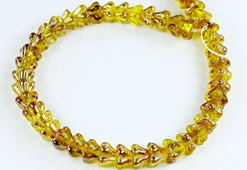 50 Pcs Freesia-Celsian Czech Pressed Glass Baby Bell Flower Beads -